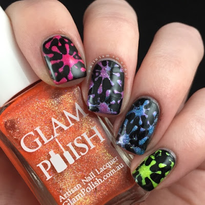 Rainbow Splatter Nails Using Glam Polish Truly Outrageous Collection - Polish and Paws