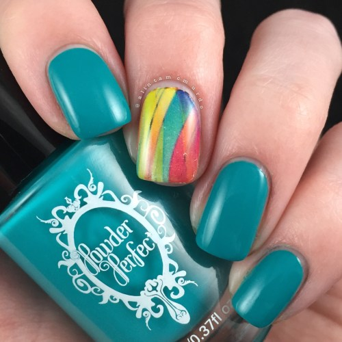 MILV N392 Nail Decal with Powder Perfect Bermuda Review and Swatches - Polish and Paws