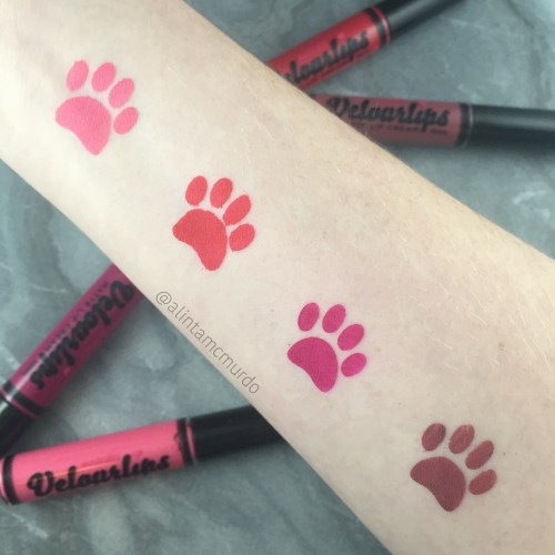 Velourlips Ro-ma, Bar-tha-lona, Shang-hi! and Oh-saka! swatches and review - polish and paws