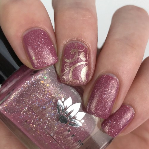 Pink and rose gold nails using Emily de Molly LE 43 with rose gold stamping polish and EDM14 stamping plate
