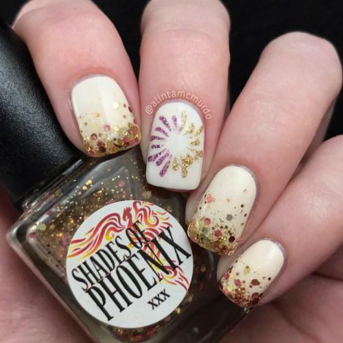 Glitter gradient and microglitter firework mani for NYE