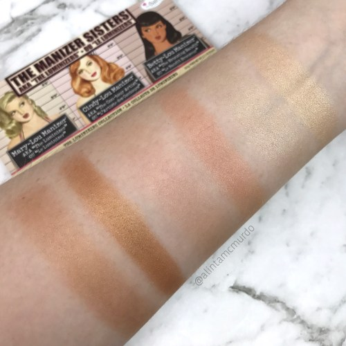 L-R Brush and finger swatches of Betty-Lou, Cindy-Lou and Mary-Lou from the Manizer Sisters Palette