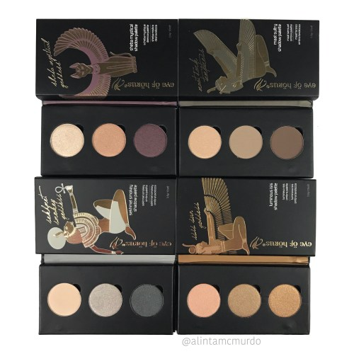 4 eyeshadow palettes, the Sheba Mystical Goddess palette, the Maat Dark Temptress palette, the Sekhmet Smokey palette and the Isis Sun Goddess shadow palette from Eye Of Horus Cosmetics