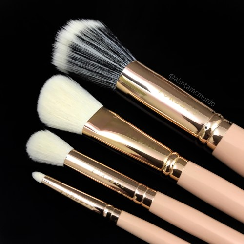 4 makeup brushes from the Furless x It's Likely Makeup collaboration brush set. They are the PRO6F Stippling Brush, PRO5F Angled Contour Brush, PRO7E Domed Blending Brush and PRO6M Pencil Brush.