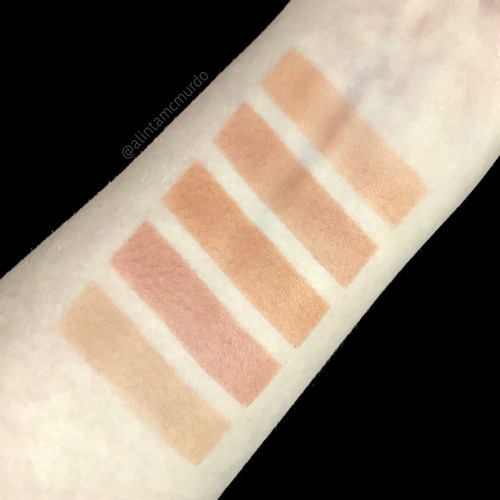 Top to Bottom - Ere Perez Roma left side, Ere Perez Roma right side, Dusty Girls Mineral Bronzer, theBalm Balm Desert and theBalm Oliver swatches