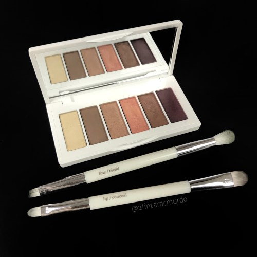 Ere Perez Chamomile eyeshadow palette in Pretty with Eco Vegan Smudge & Shade Brush & Vegan Lip and Conceal Brush