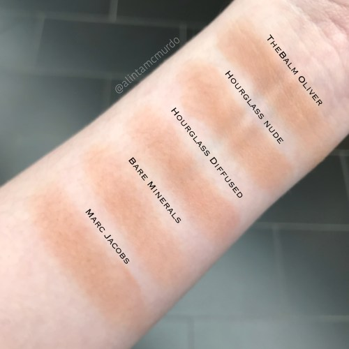Bronzer swatch comparison on fair skin - thebalm Oliver, Hourglass Nude Bronze Light and Diffused Bronze Light, Bare Minerals Invisible Bronze in Fair to Light and Marc Jacobs Tan-tastic