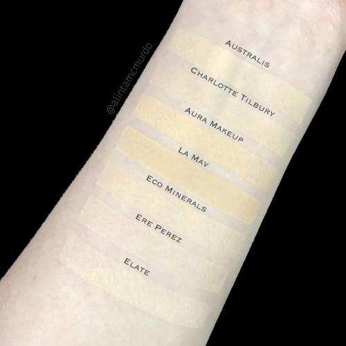 Powder comparison - Australis Cosmetics Light Beige, Charlotte Tilbury Fair, Aura Makeup Shell, La Mav Light, Eco Minerals Vanilla, Ere Perez Light and Elate Cosmetics Ivory  - polish and paws cruelty free beauty blog