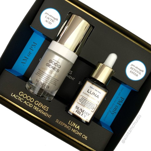 Cruelty free skin care favourites fom 2018 b- Sunday Riley The Power Couple set- Good Genes Lactic Acid Treatment and Luna Sleeping Oil - polish and paws blog