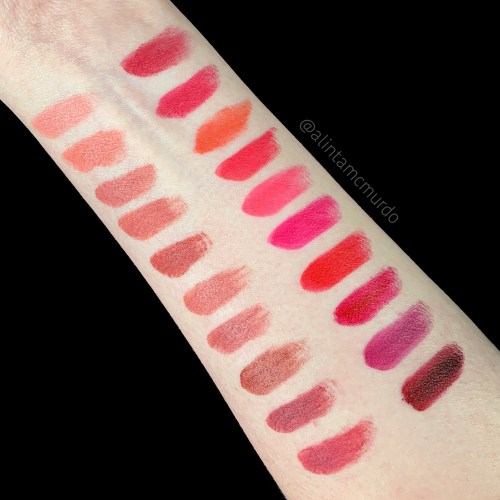 Flower Beauty Petal Pout Lip Color - left side top to bottom - Bare Pout, Peachy Nude, Naked Blush, Warm Sand, Cinnamon Crush, Spiced Petal, Pink Dusk, Chestnut Kiss, Autumn Rose and Berry-more. Right side top to bottom - Rouge Berry, Rosey Garden, Peach Posy, Hibis-kiss, Bright Peony, Pink Orchid, Poppy Pout, Ruby Rouge, Dahlia Desire and Wild Berry - polish and paws cruelty free beauty blog
