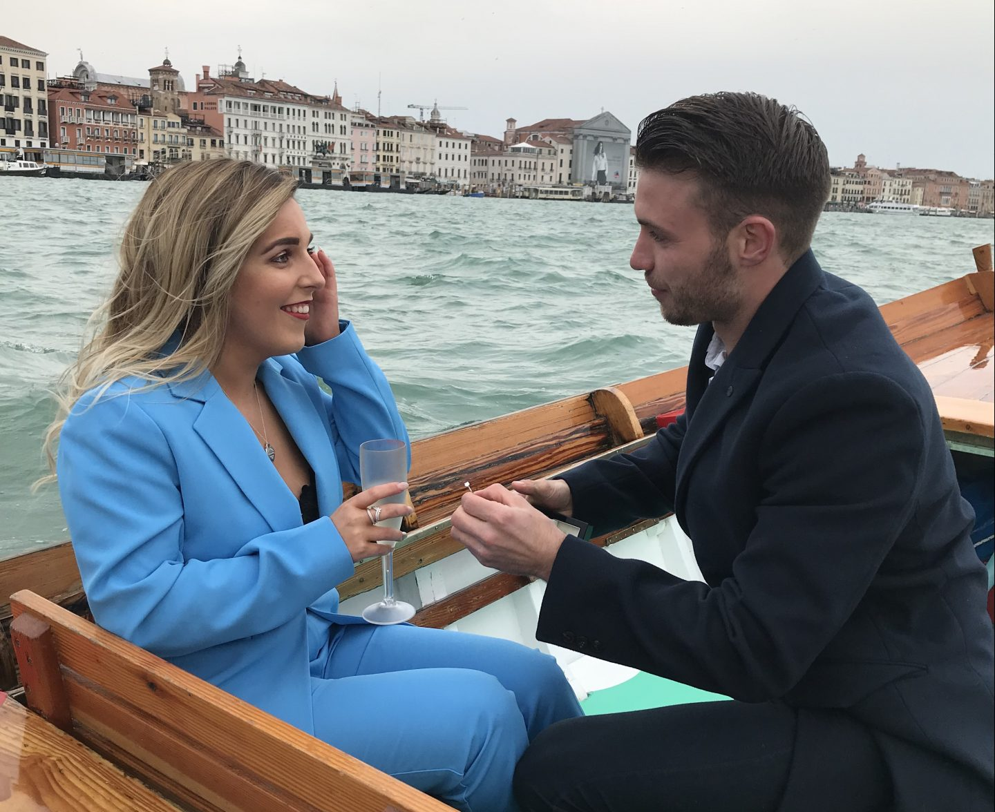 engaged on grand canal venice