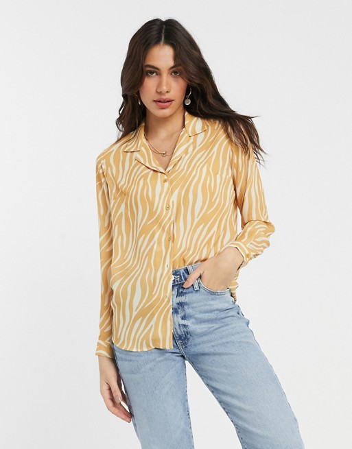 ASOS - yellow zebra print button down