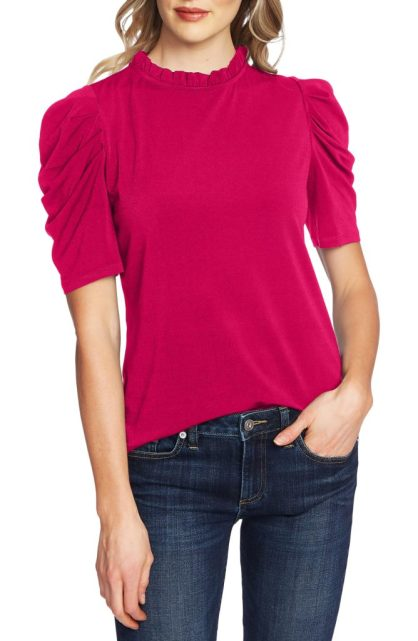 CECE - ruched puff sleeve hot pink top