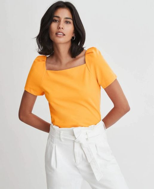 Ann Taylor - mustard cap puff sleeve short sleeve top