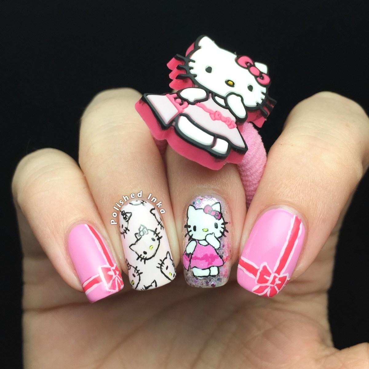 kitty nail art polished
