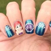 ariel mermaid nail art polished