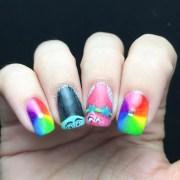 trolls movie nail art polished