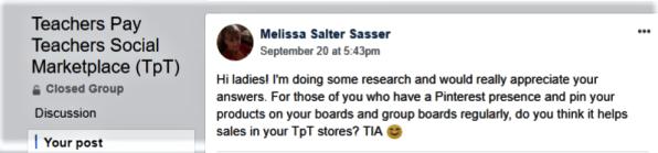 TpT question facebook