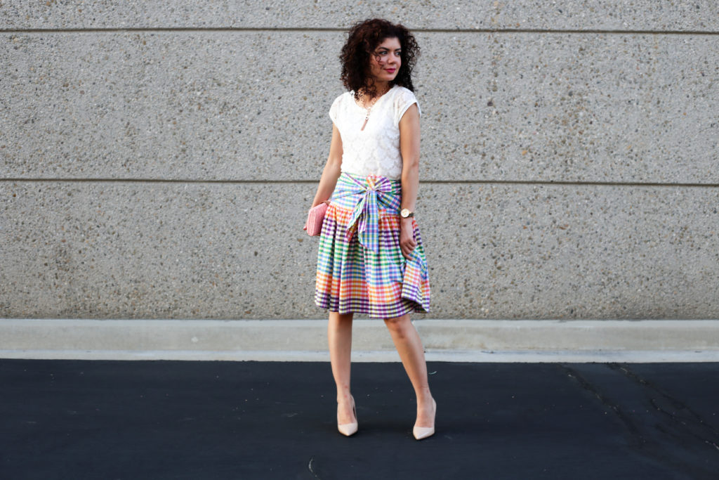 J Crew Rainbow Gingham Tie Front Skirt: Why I Wear Skirts