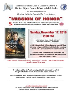 Misson of Honor flyer for November 17th viewing
