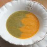 two-tone broccoli carrot soup
