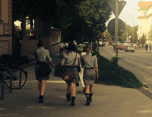 Girl Scouts on their way to ceremony