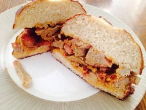Pretzel rolls pulled pork