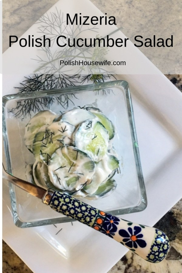 mizeria Polish cucumber in sour cream salad in a glass dish on a white plate with a Polish pottery folk