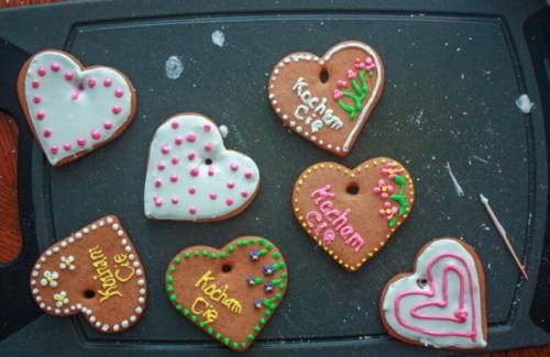 Polish gingerbread cookies decorated for Valentine's Day