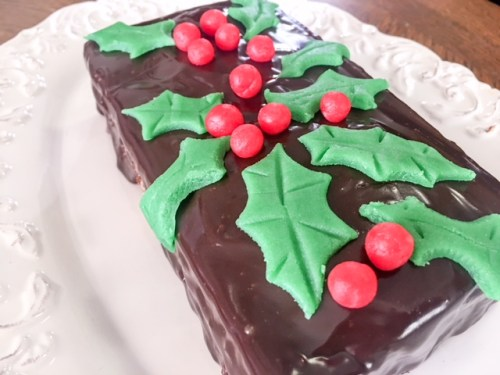 Polish Gingerbread Cake Ciasto Imbirowe, filled with apricot jam and marzipan, enrobed in chocolate ganache