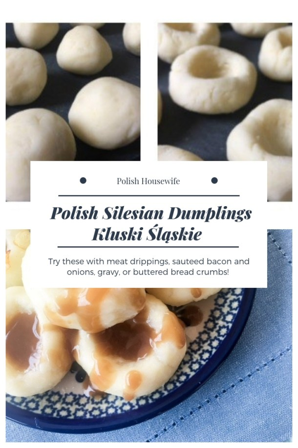 potato dumplings with gravy on Polish pottery