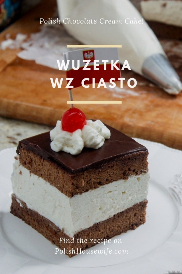 a chocolate cake filled with a thick layer of whipped cream topped with chocolate ganache, wz ciasto wuzetka