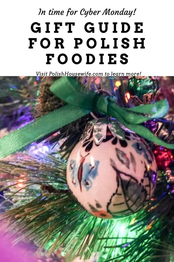 a polish pottery christmas ornament on a tree and gift guide text