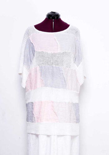 Designer linen patchwork tunic