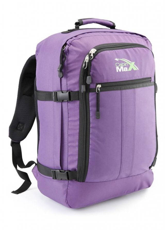 purple version of the biggest hand luggage you can take on board