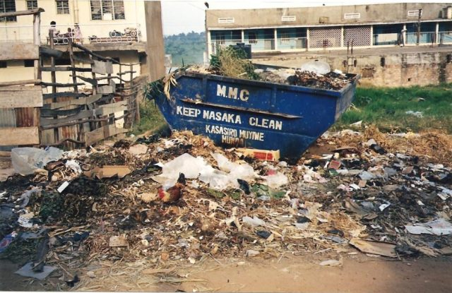rubbish skip in masaka, uganda, east africa