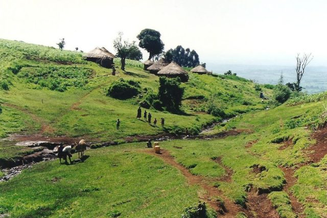 traditional east african landscape in uganda