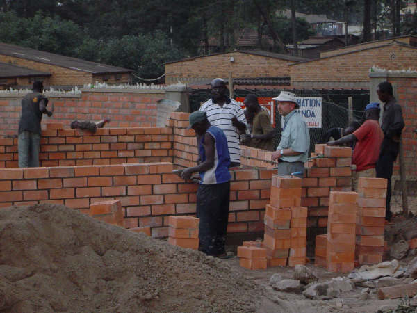 bricklaying in Rwanda building a classroom