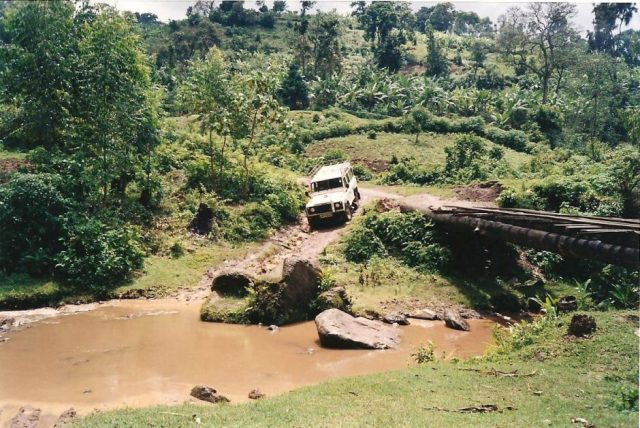 driving a landrover 110 through a river in the dry season in mbale uganda