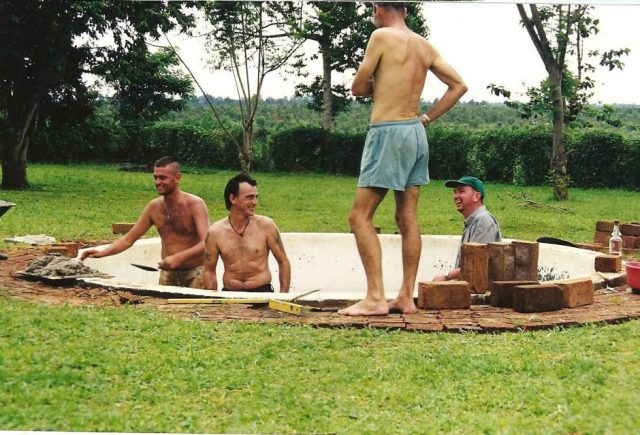 ian anderson, graham talbot and james dunning pool building in mbale, uganda
