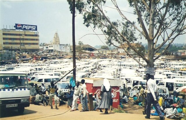 Kampala taxi park in 1998...........taxi anyone?