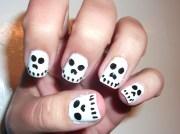 halloween skull nails- easy