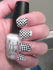 black and white checkered nails
