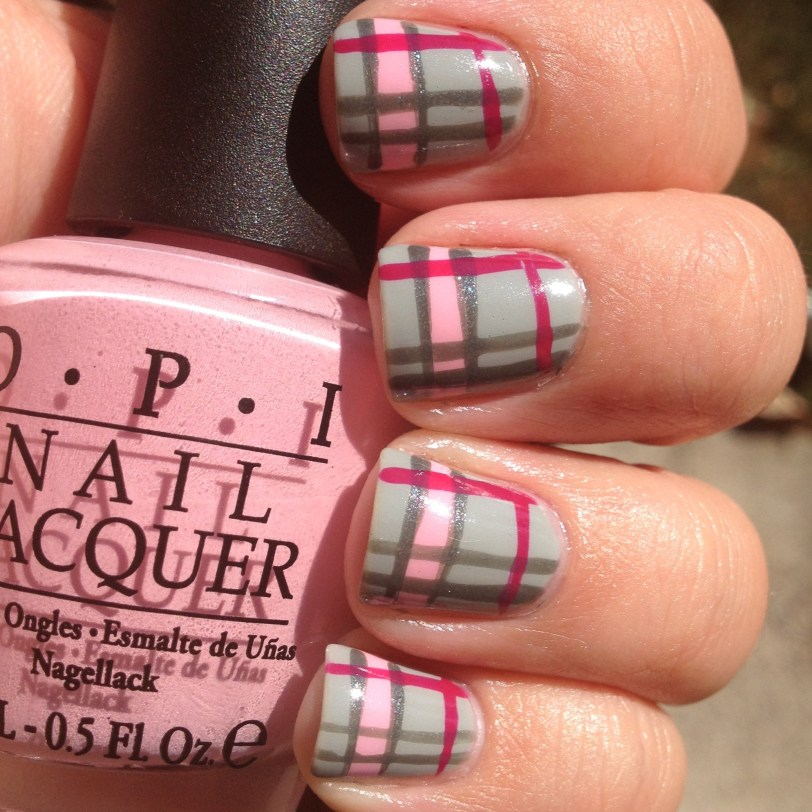 polish pink- pink and grey plaid
