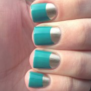 gold and turquoise -moon nails