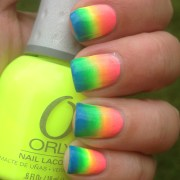 neon rainbow gradient nails polish