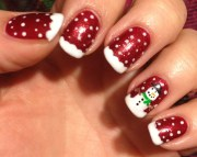 sparkly red snowman nails polish