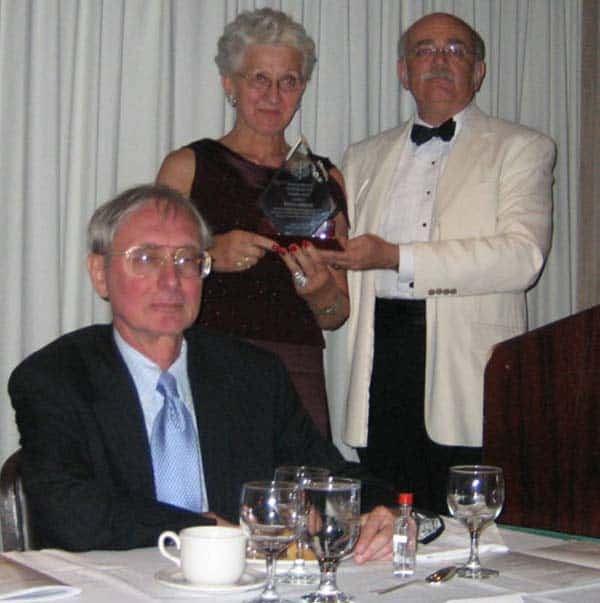 Pictured L-R:  Pres. Ted Mirecki, Barbara Lemecha (award recipient), 2nd VP Peter Obst (presenter of Founders Award)