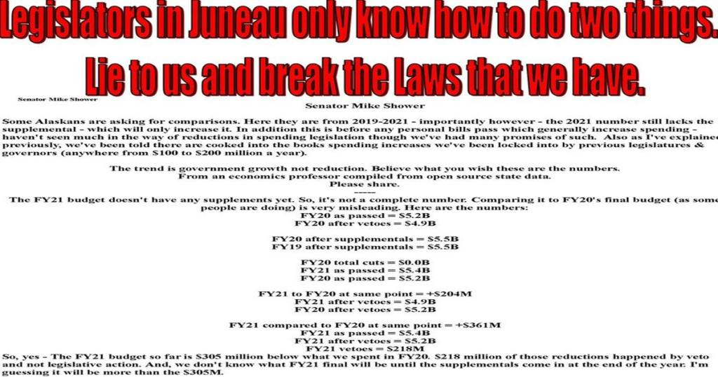 Legislators in Juneau only know how to do two things Lie to us and break the Laws that we have