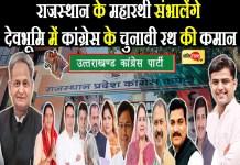 राजस्थान के महारथी संभालेंगे देवभूमि में कांग्रेस के चुनावी रथ की कमान